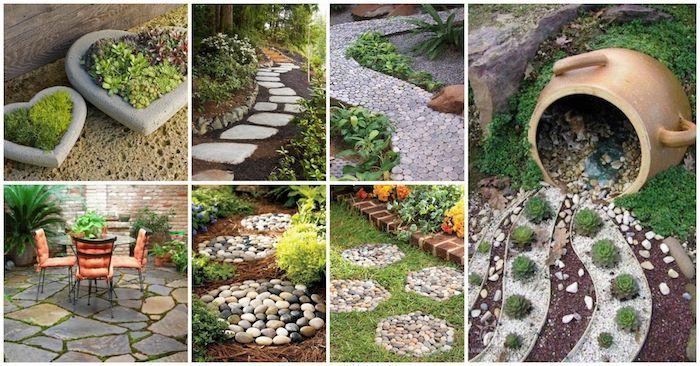 comment decorer son jardin avec gravier cailloux galets et pierres avec plantes