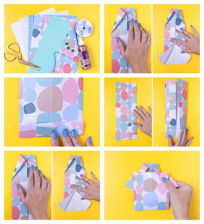 comment faire une carte de voeux originale pour la fete des peres chemise de papier coloré
