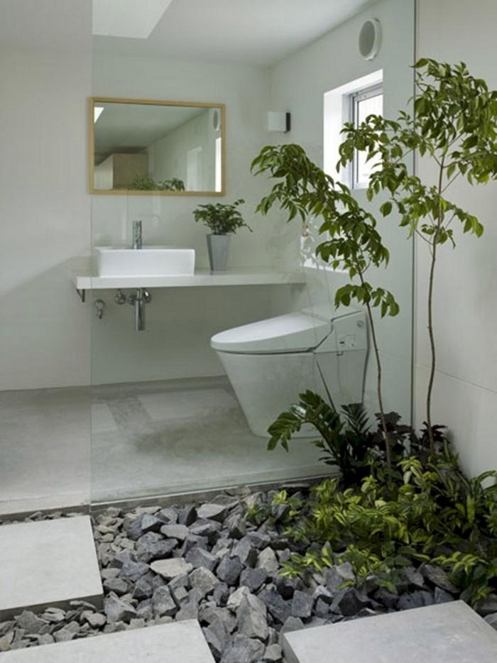 comment transformer ses wc en espace déco jardin zen pierre dalles béton miroir cadre bois