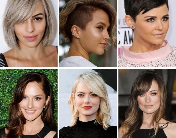 coupe cheveux tendance 2021 coupe carré avec frange effiléé coloration blond polaire cheveux longs avec frange latérale