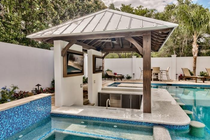 cuisine d été avec bar décoration extérieure pergola bois îlot cuisine inox évier extérieur plan travail