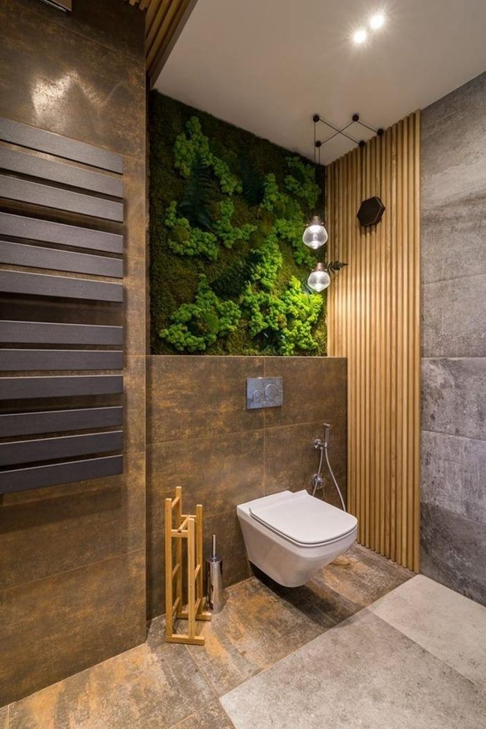 cuvette wc blanche mur végétal decoration wc moderne panneaux bois éclairage industriel métal