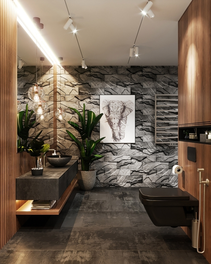 déco toilettes originales revetement mural panneaux pierre carrelage effet béton ciré lavabo cuvette noire