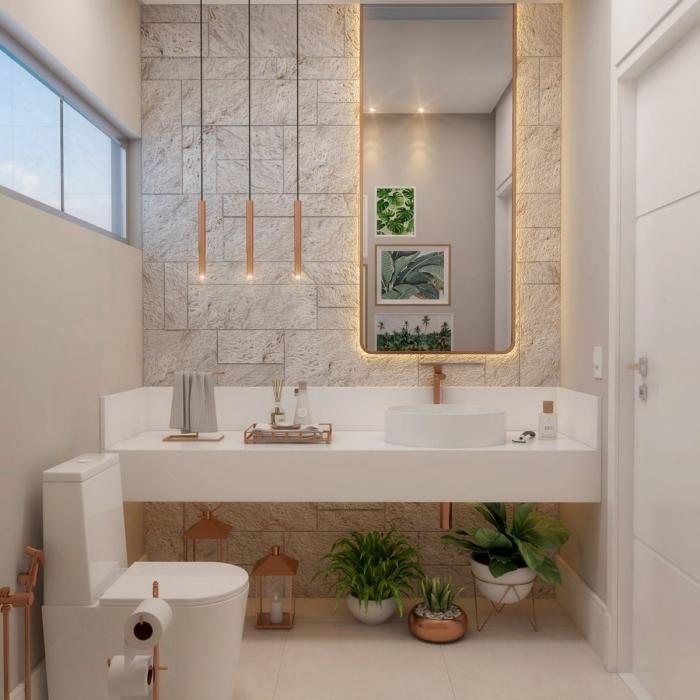 déco wc nature style moderne design cuvette wc plantes vertes lanterne décorative rose gold
