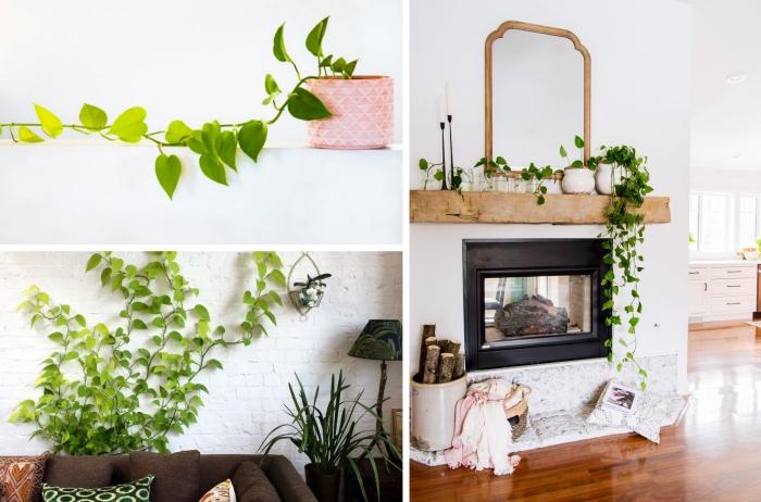 décoration canapé marron coussins à motifs géométriques mur briques blanches plante verte tombante