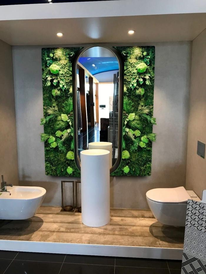 décoration toilettes cuvette wc mur végétal avec miroir ovale éclairage moderne spots led