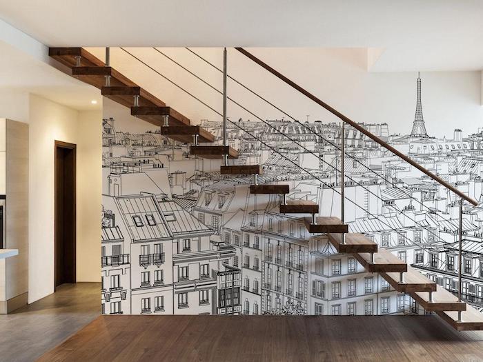 deco escalier papier peint personnalisé vue sur paris escalier en bois