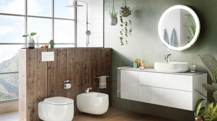deco toilette avec fenetre design intérieur moderne conception mur vert peinture a effet