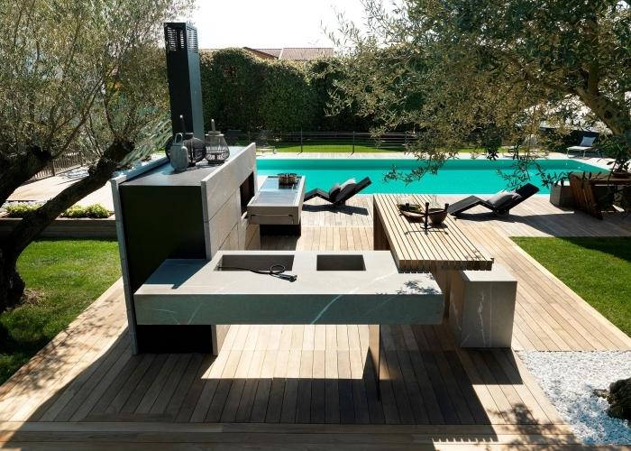 design moderne aménagement vier extérieur plan travail ilot bois bar cuisine d ete exterieur terrasse