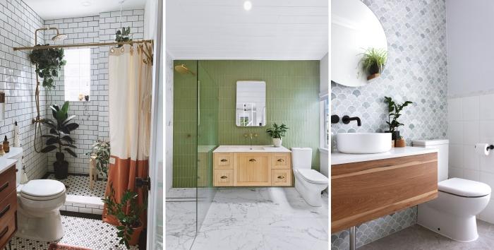 design petite salle de bain décoration nature plantes vertes d intérieur choix carrelage blanc accents or