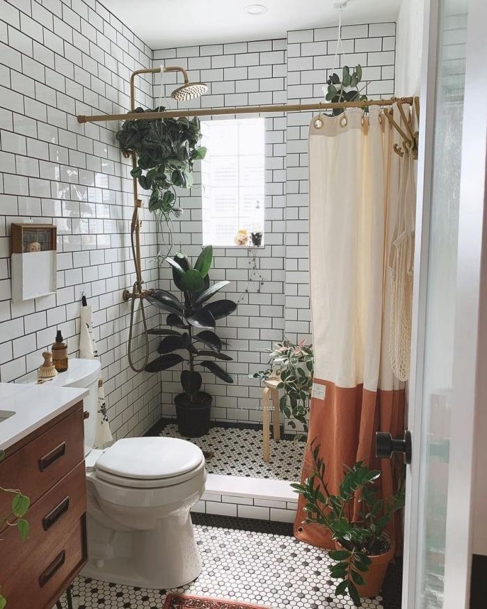 douche robinet or plantes vertes salle de bain rideaux douche terracotta carrelage toilette blanc