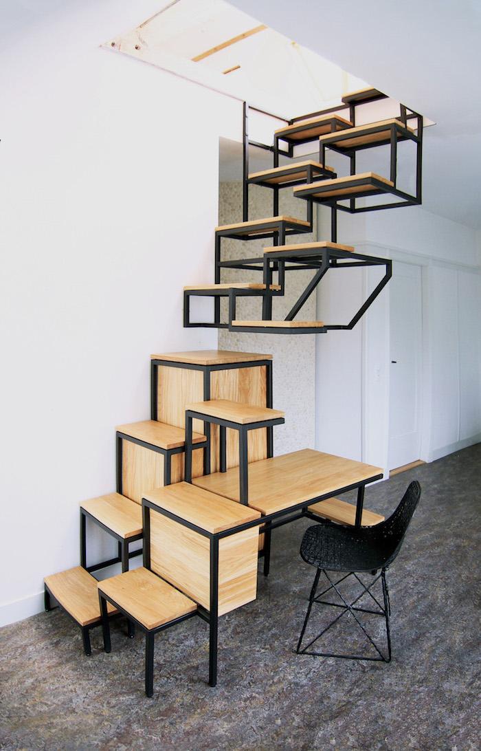 escalier avec rangement en bois et métal étagères et espace de travail