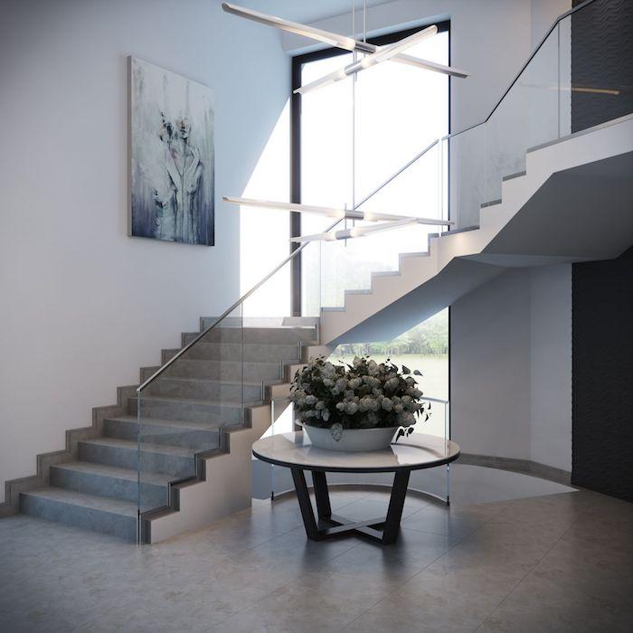 escalier gris et blanc garde corps en verre peinture moderne stylé lustres modernes épurés