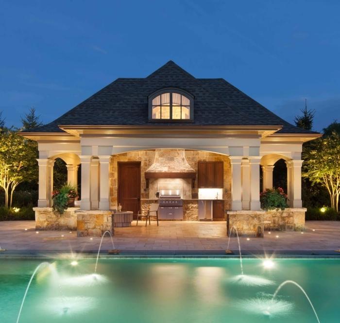 façade pierre éclairage pour extérieur hotte four jardin avec piscine équipement en inox