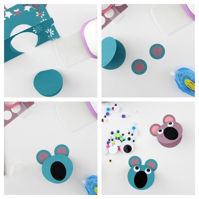fabriquer une carte en forme de koala visage et oreilles ronds nez oval des yeux mobiles