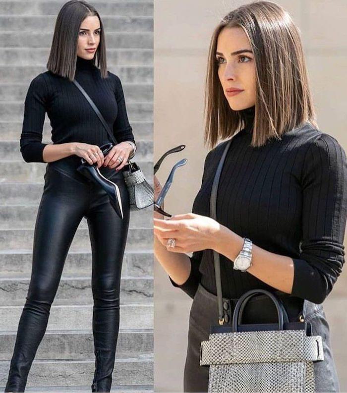 femme en pantalon et top noirs lunettes de soleils noires au carré mi long ultra lisse avec raie au milieu montre en argent sac à main noir et blanc