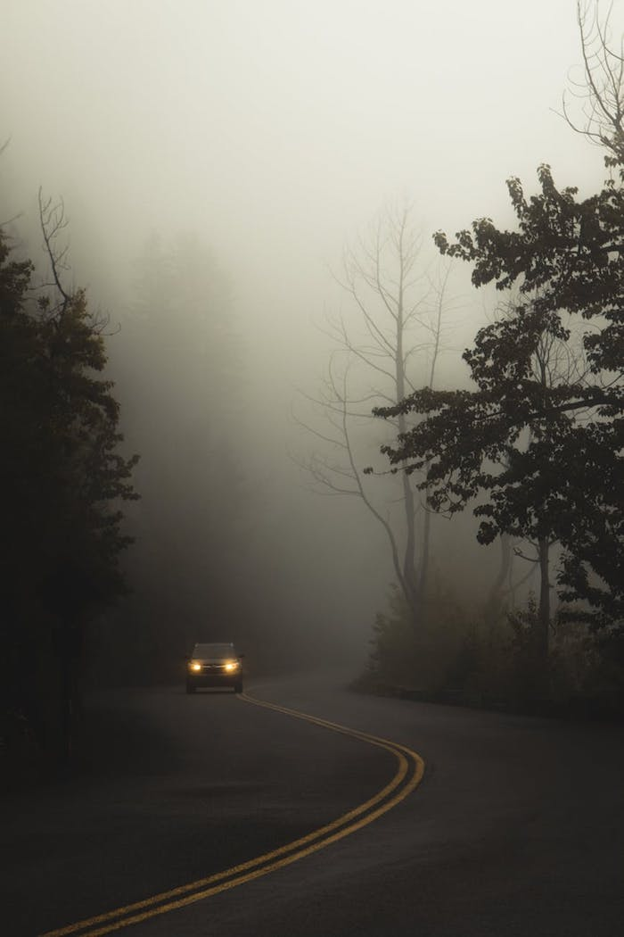 feux de route feux de croisement feux antibrouillard chaussée prise de brouillard