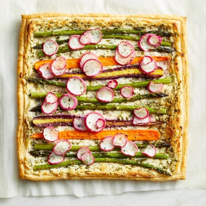forme quiche carrée recettes quiches originales pâte salée facile et rapide farine eau légumes asperges