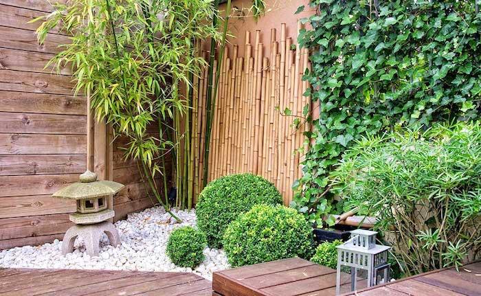 gravier decoratif exterieur blanc deco de plantes vertes buissons