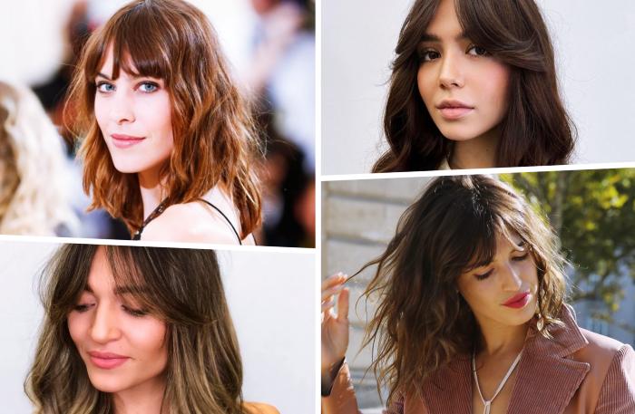idée de coupe de cheveux tendance 2021 frange rideau bardot style coiffure frange long rideau