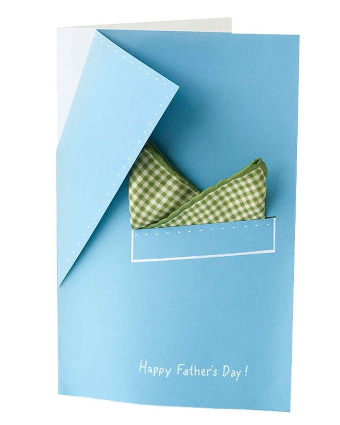 idée cadeau fête des pères à fabriquer maternelle carte imitation chemise homme bleu et serviette carré