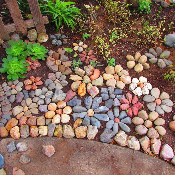idée déco jardin avec gravier en forme de fleurs autour de succulentes