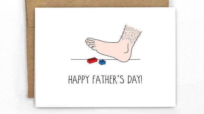 idée de carte originale fete des papas pieds papa jouets lego carte humoriste
