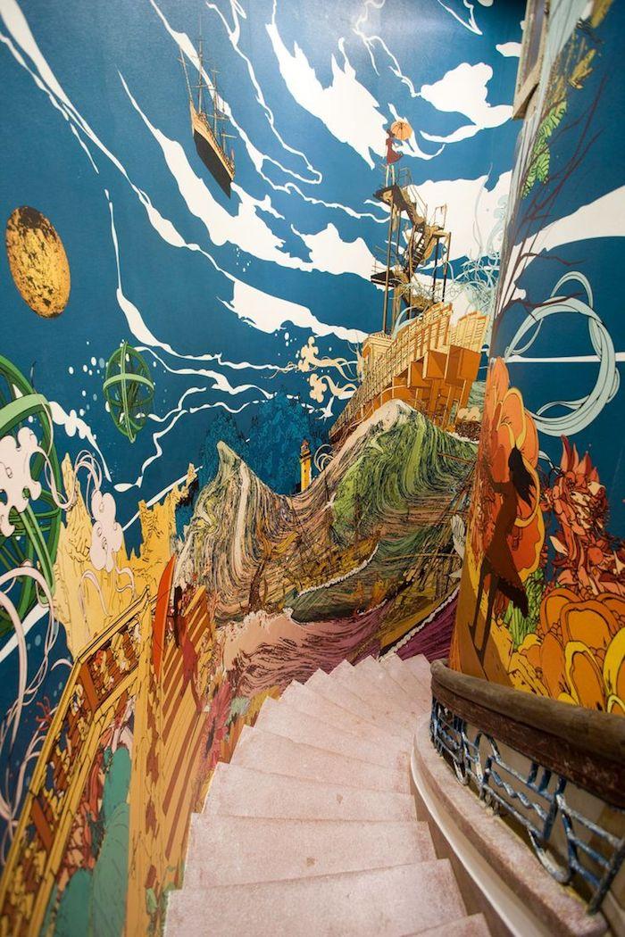 idée peinture escalier navirs dans la mer escalier en béton