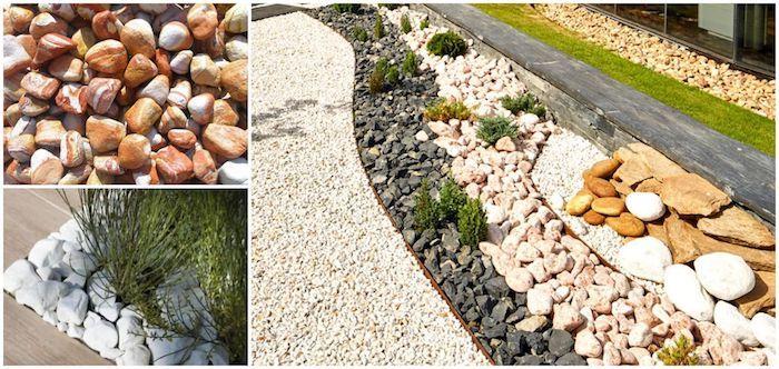 idee deco jardin avec cailloux en blanc beige gris foncé allée en gravier