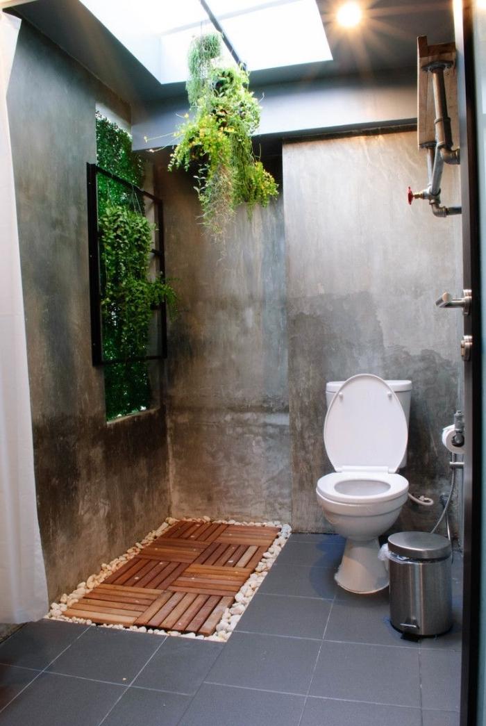 idee deco toilette jardin galets blancs plante suspendue verte accents métal mur effet béton