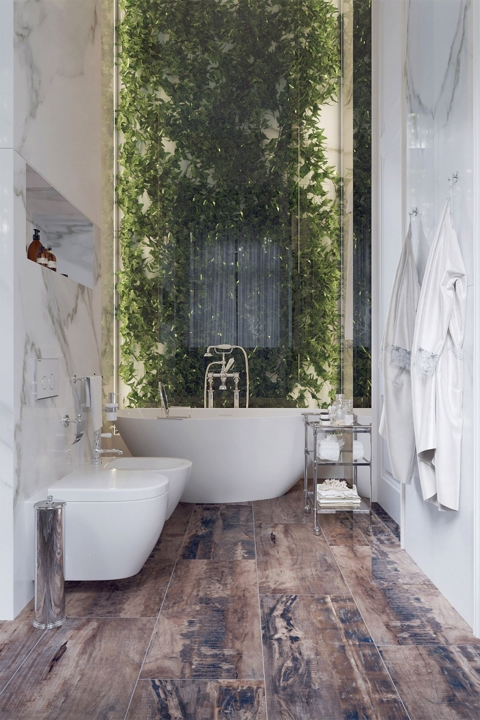 idee deco toilette mur végétal verre revetement murla dalles marbre carrelage sol aspect bois