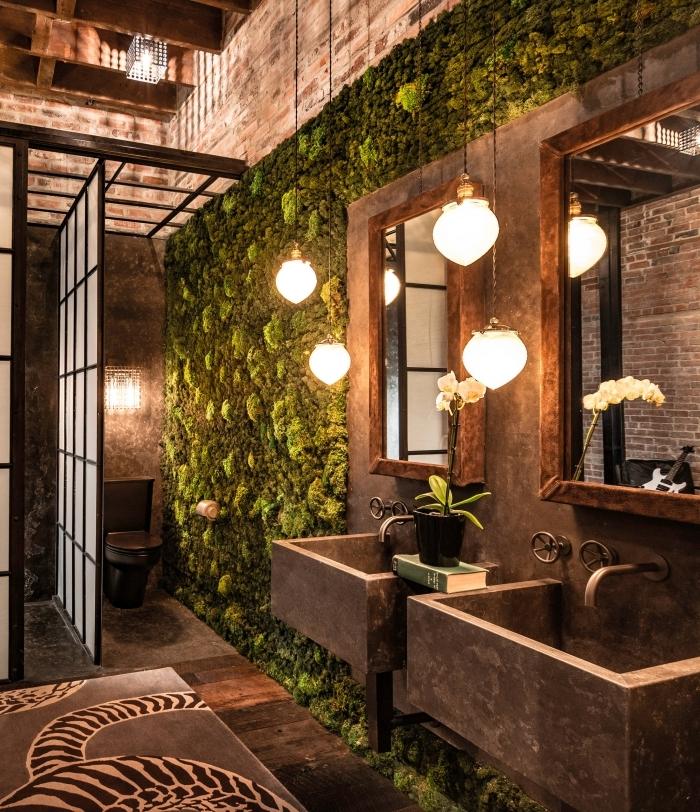lampe suspendue lavabo béton décoration de wc nature tapis de bain motifs zebre mur végétal