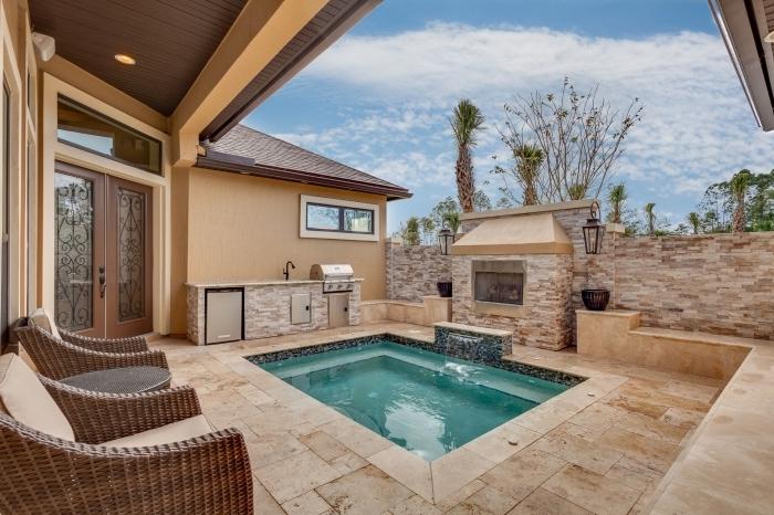 meuble de jardin rotin façade maison sable amenagement jardin piscine spot led jet eau barbecue