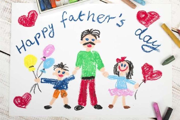 modele de dessin pour la fête des pères papa et enfants avec ballons et coeurs idee cadeau original