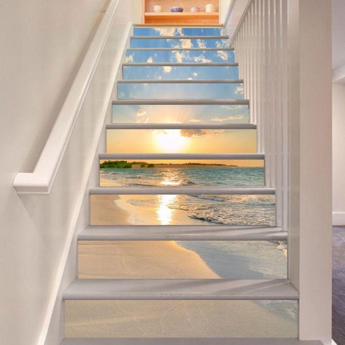 moderniser un escalier en bois papier peint paysage sur les contremarches peinture blanche