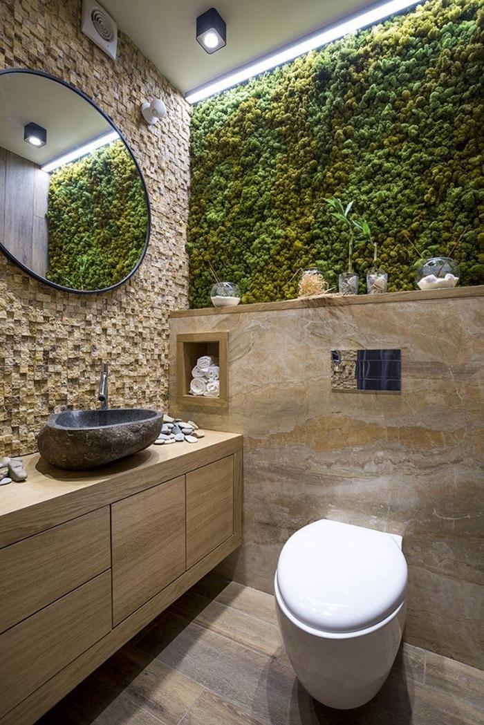mur végétal éclairage moderne decoration wc moderne meuble sous lavabo bois sans poignées