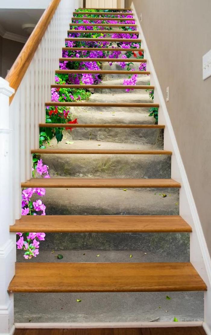 peindre escalier bois garde corps et marches en bois papier peint collé sur les contremarches