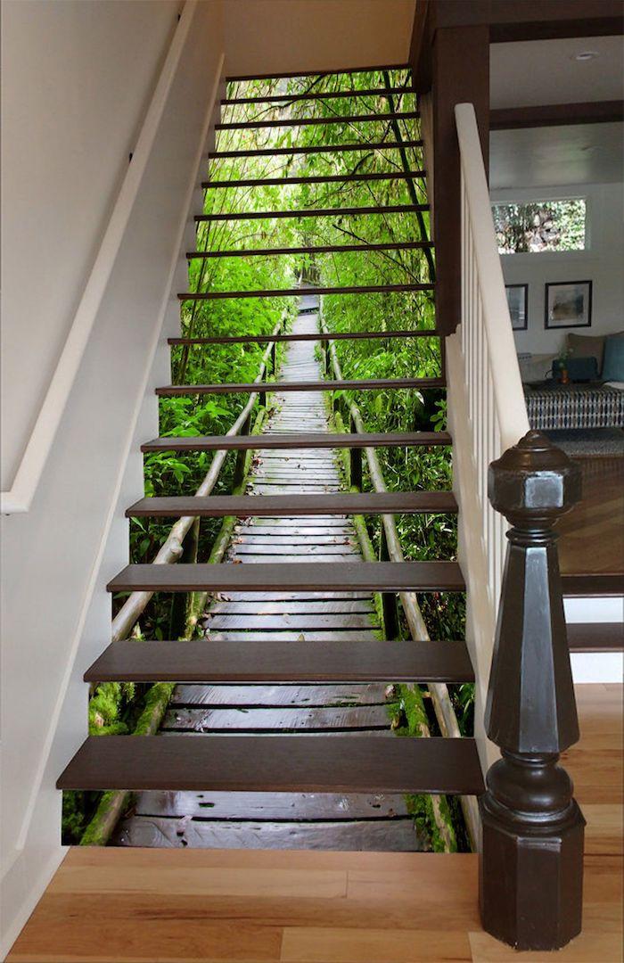 peinture escalier bois papier peint ou sticker paysage sur les contremarches
