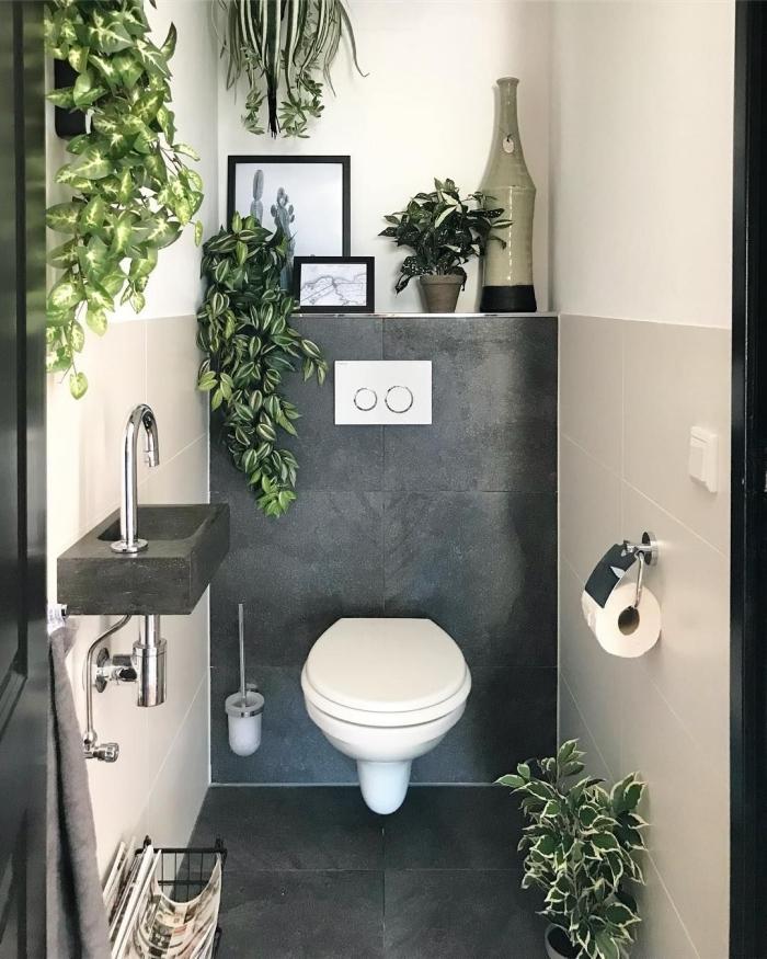 petit espace deco toilette chic dalles effet béton cuvette wc suspendue plante tombante d intérieur