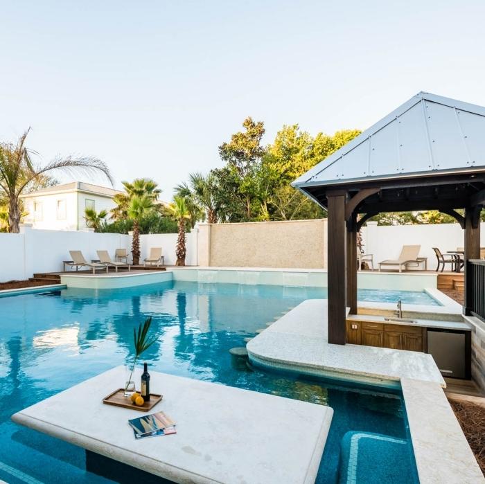 plan de travail cuisine extérieure design extérieur style moderne îlot bar piscine armoires bois cuisine