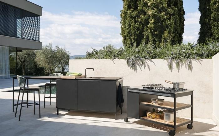 plan de travail cuisine extérieure design extérieur style moderne armoire gris anthracite mate finition noir