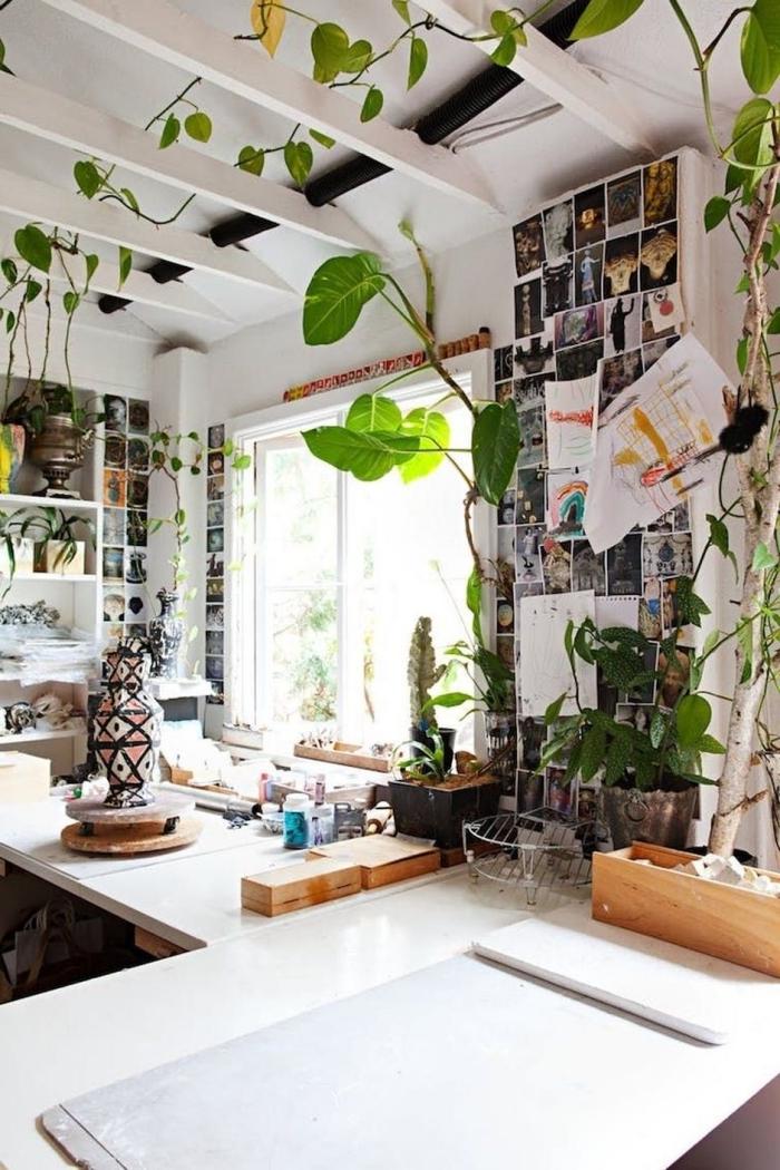 plante appartement décoration poutres apparentes blanches pot fleur béton mur photos