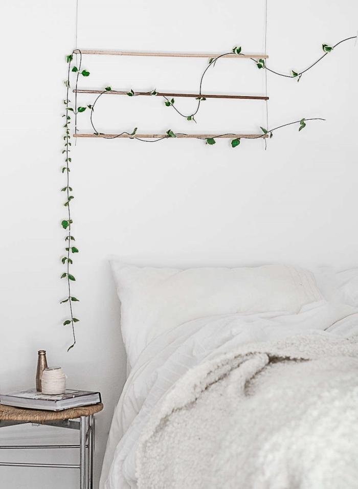 plante grimpante d intérieur décoration chambre a coucher boho scandi style minimaliste support plante