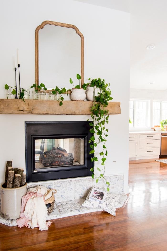 plante retombante intérieur décoration cheminée miroir bois étagère panier tressé rangement sol bois