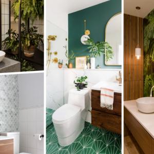 plantes vertes d intérieur revetement mural salle de bain carrelage blanc robinet noir mat éclaira miroir