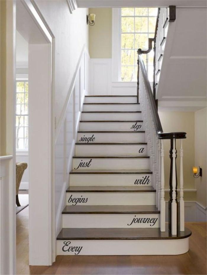 quelle couleur pour peindre une cage d escalier murs blancs marches en bois stickers sur les contremarches quelle couleur pour peindre une cage d'escalier