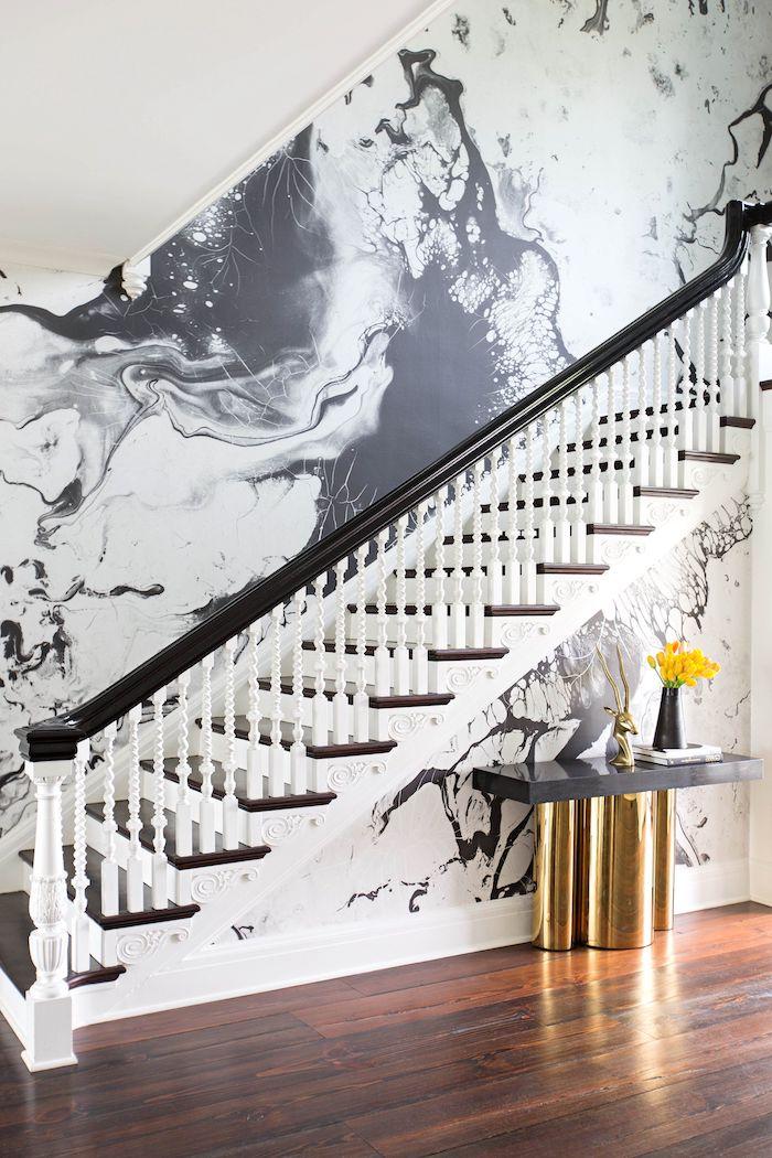 quelle couleur pour peindre une cage d escalier peinture en blanc et noir marches et garde corps noirs
