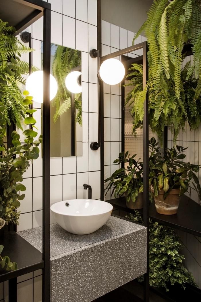 rangement d angle étagère métal noir déco wc nature lavabo ovale éclairage style industriel