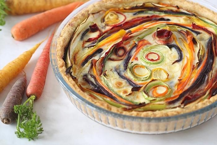 recette pâte brisée carottes légumes idée tarte salée oignon printanier poivrons tranches oeufs