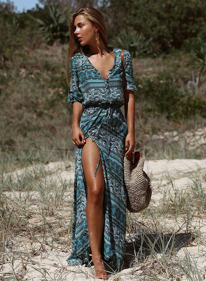 robe longue été femme en bleu avec fente sac à main plage tricoté